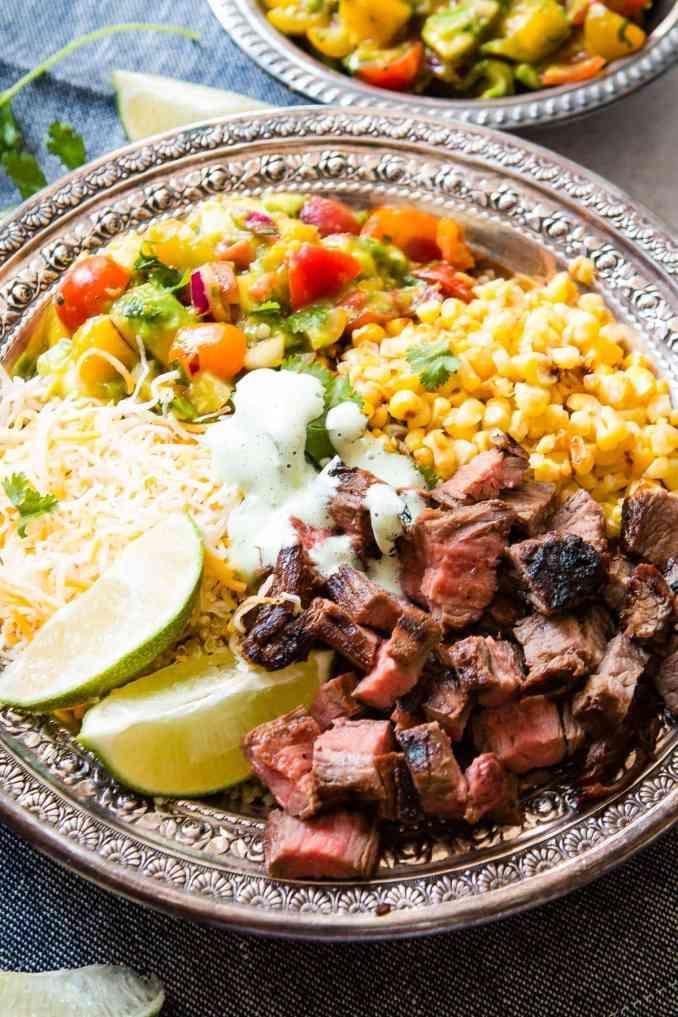 Easy Grilled Steak Burrito Bowls - Oh Sweet Basil
