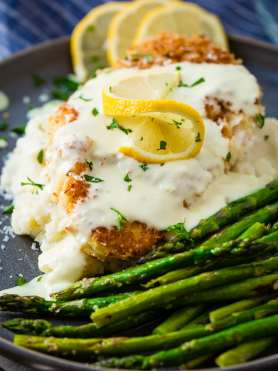 A couple of years ago I won a Knorr Cookoff with this Panko Crusted Chicken with Lemon Cream sauce! It's breaded chicken with a creamy sauce!