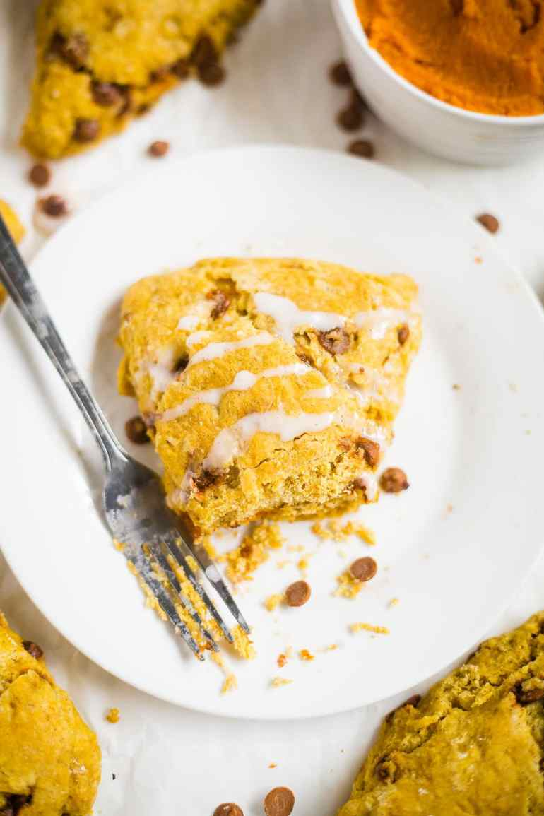 Pumpkin cinnamon chip scones are a fall breakfast recipe your family will drool over! They're soft, buttery and filled with fall spices like pumpkin pure and cinnamon chips.