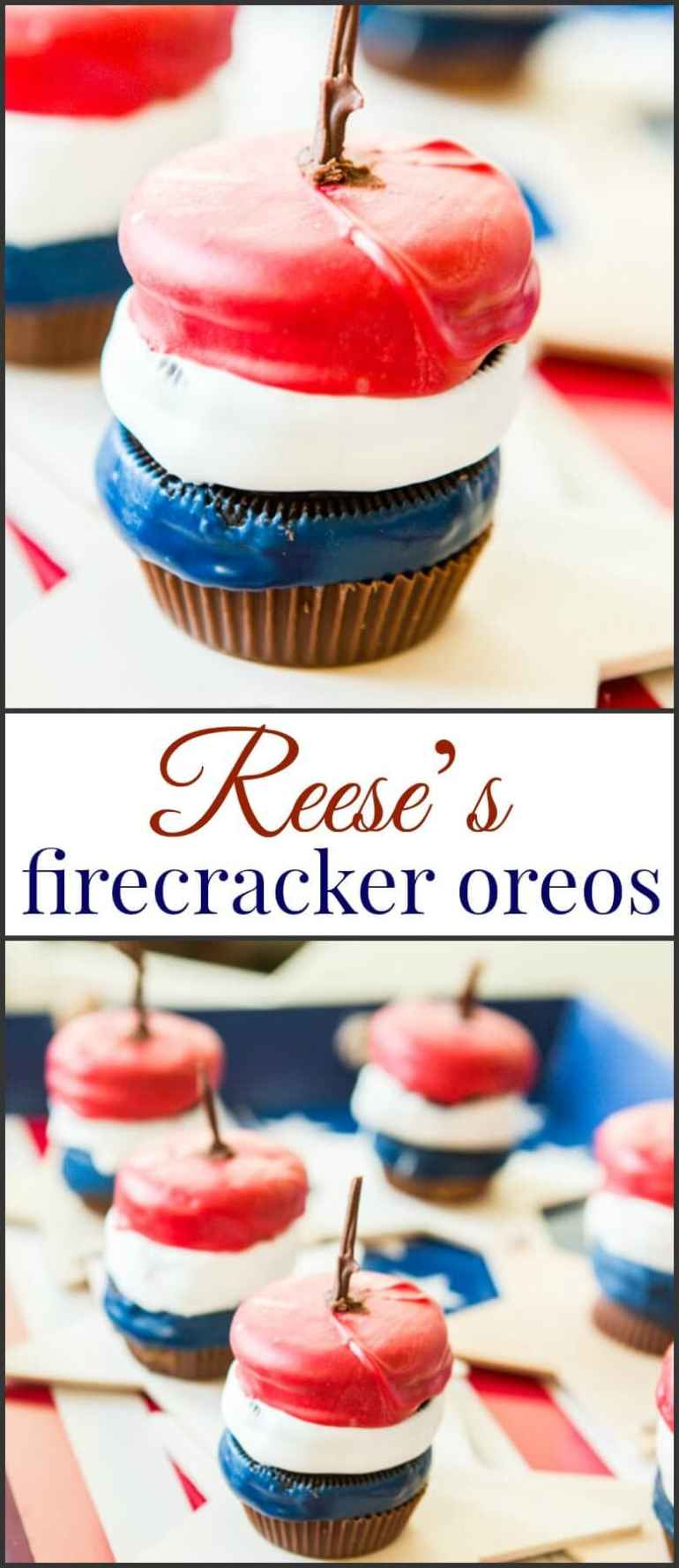 Everyone loves fireworks on the 4th of July, but let's be honest, all I care about are these Reese's Firecracker Oreos! Perfect for potluck dessert ideas!