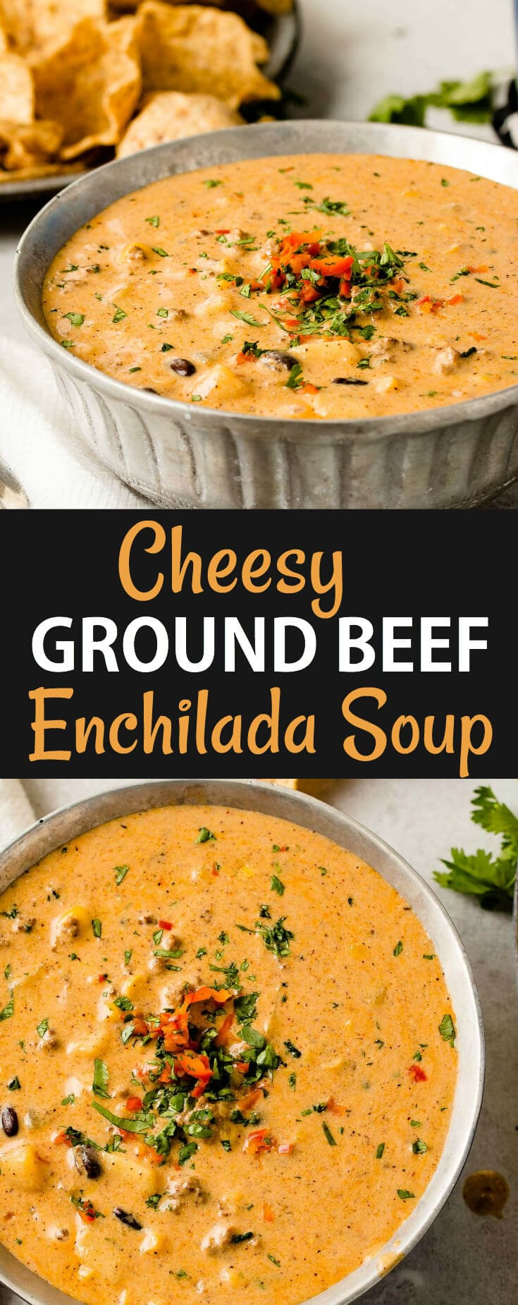 We took our favorite Cheesy Southwestern Chicken Tortilla Soup and turned it into a cheesy ground beef enchilada chili! It's such an easy chili!