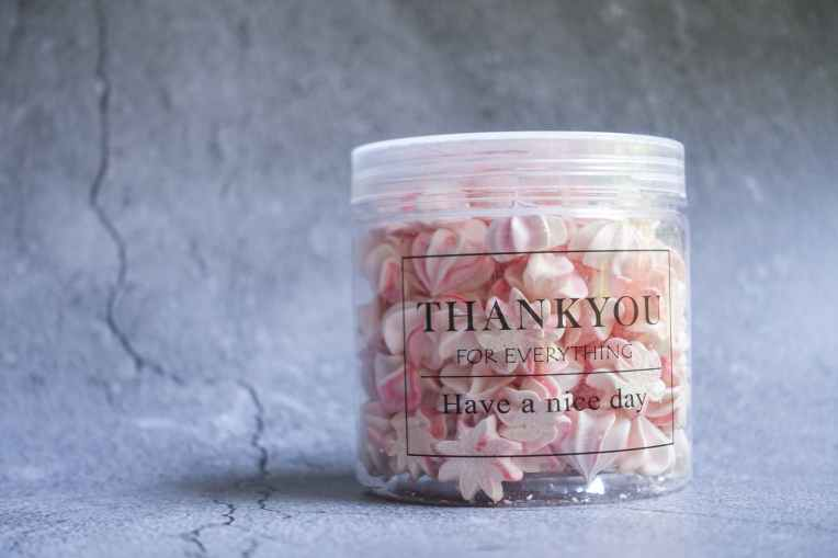 sugar treats filled plastic jar with thank you print