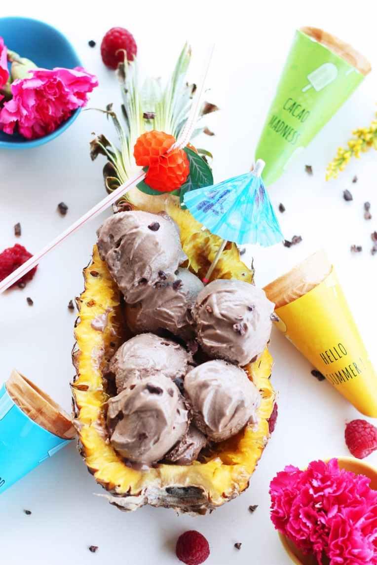 icecream on pineapple