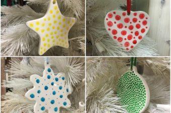 Polka Dot Ceramic Christmas Ornaments