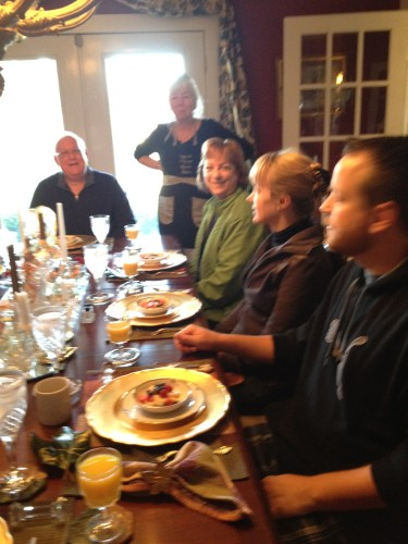 Gathering in the dining room for morning breakfast