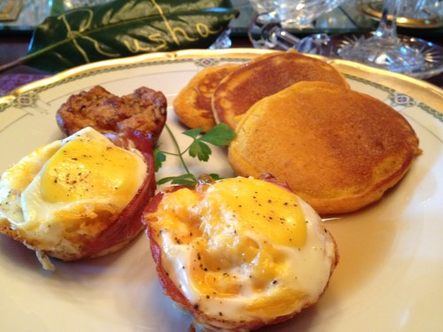 Bruce's Baked Eggs with Sausage Cheese Muffin and Autumn Blend Pancakes