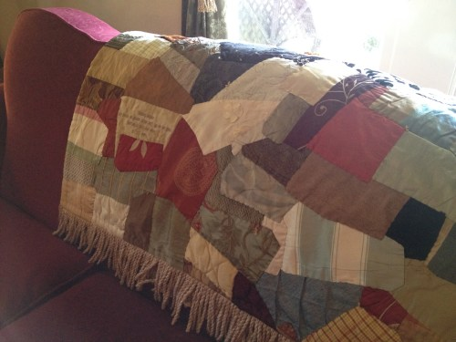 One of the pieced quilts in the parlor at GreenRose of Raus