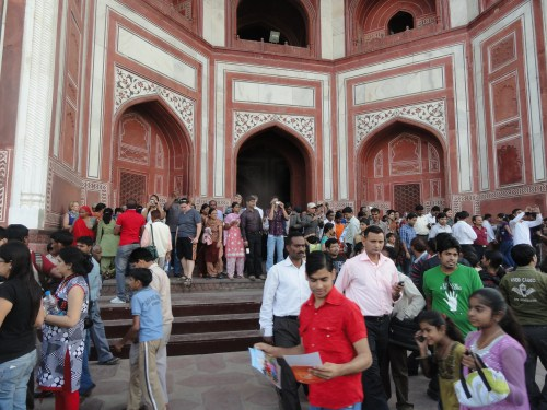 Finally making it through the entrance to take first pictures of the Taj Mahal!
