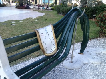 A bench with Dali's famous drippy watch motif
