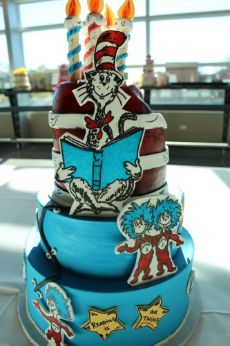 "Detailed storybook characters populate the entry ""Dr. Seuss"" by Maria Pannala"