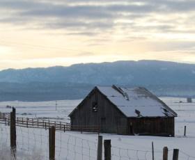 Abandoned barn at sunrise
