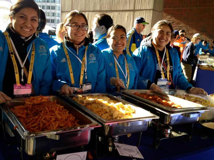 Serving pasta the night before Boston Marathon 2014