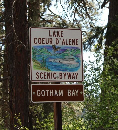 Signs indicate bays along Lake Coeur d'Alene