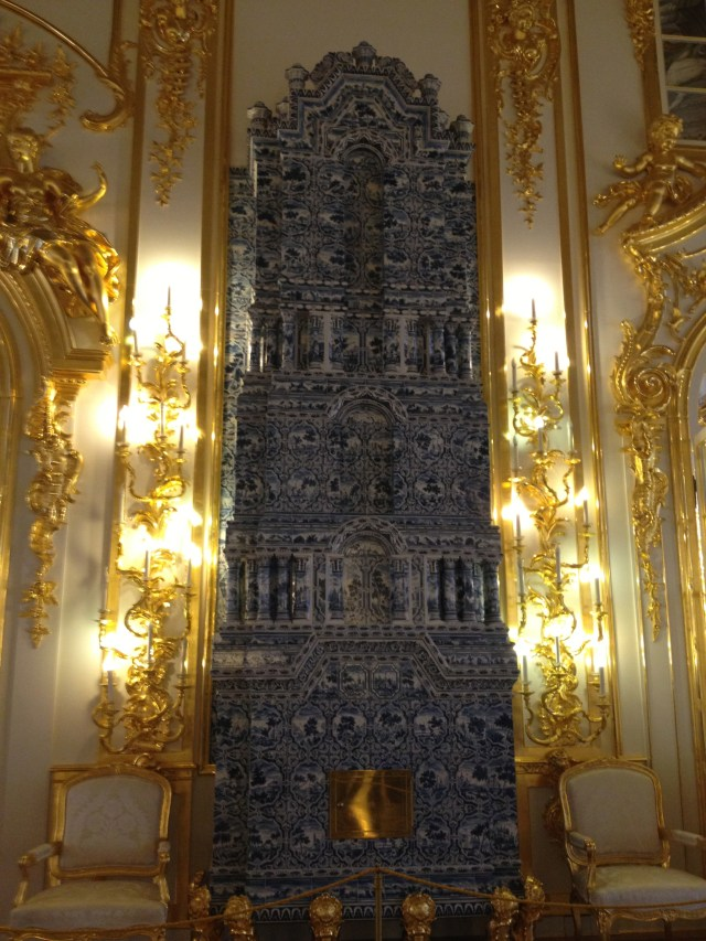 Elegant fireplace of Delft tiles, Catherine Palace, Russia