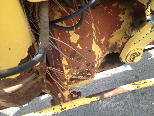 Close-up of rusty tractor