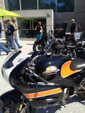 Motorcycles lined up at KMA