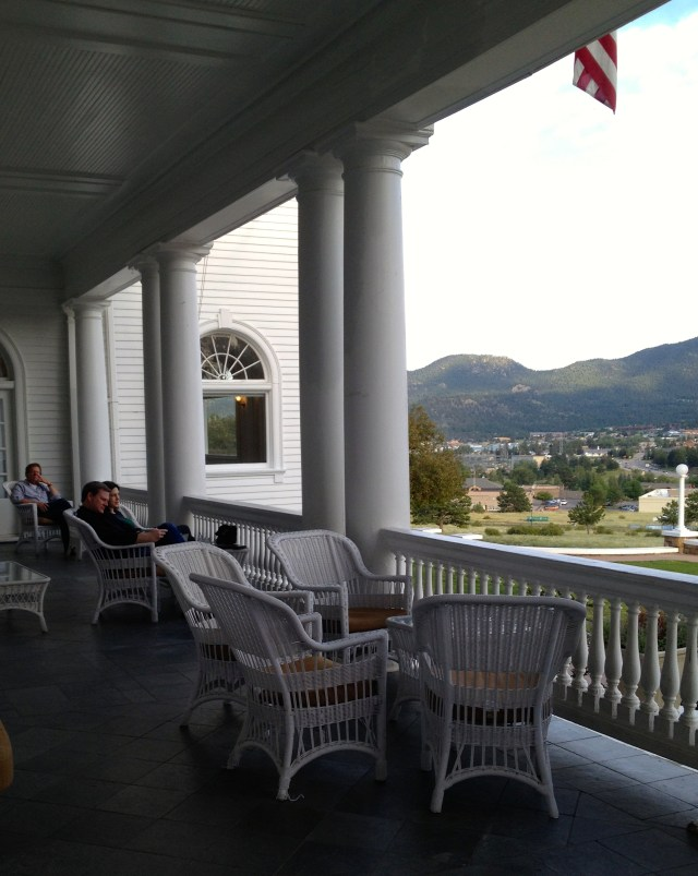 The view of Rocky Mountain National Park from the front porch of The Stanley Hotel