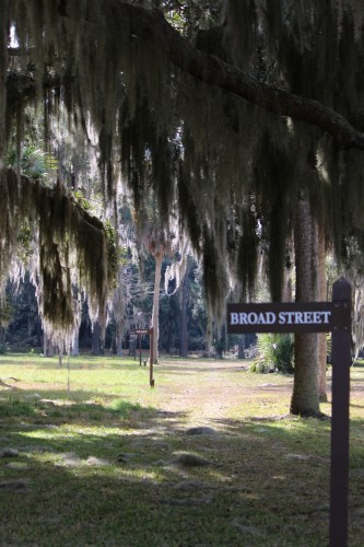 Street markers line the pathways at Fort Frederica