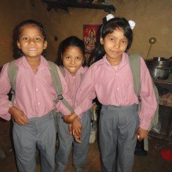 Children next door to the home we were building in Nepal dressed and ready for school.