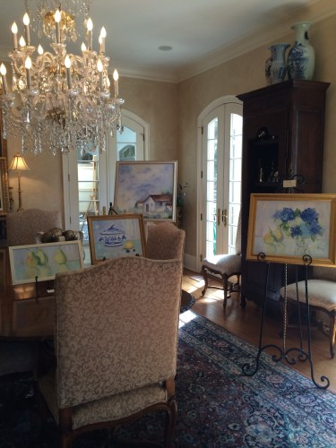 On display in the Woods' dining room were a few pieces in Melanie's new color palette.