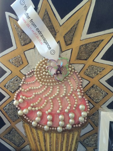 Cynthia Tipton's beaded cupcake design -- available on cards at Davis Studio.