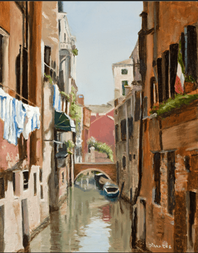Venice Small Canal with Laundry by Diana Dee