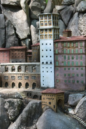 Buildings of Montserrat embedded in stone