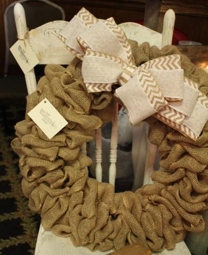 Burlap wreath from The Wrenn's Nest
