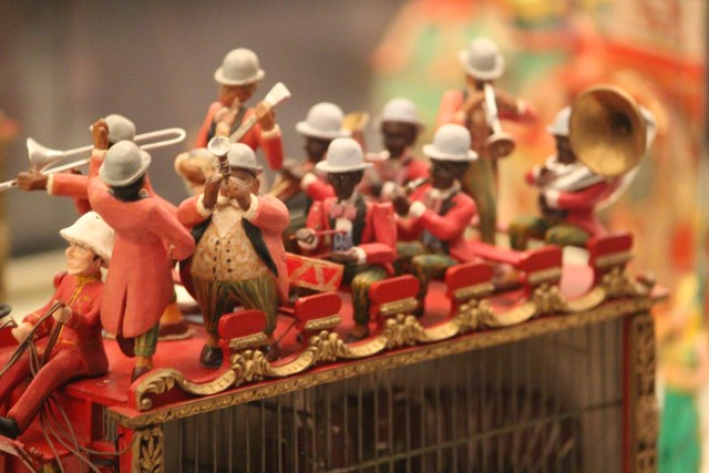 Miniature band members atop band wagon at The Ringling Circus Museum in Sarasota, FL.