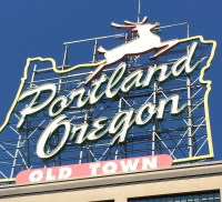 Neon sign in downtown Portland.  We've been told the nose lights up at Christmas!!