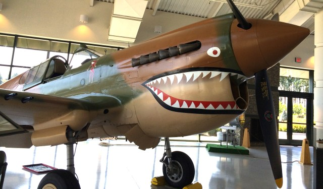 P40B Tomahawks with their fierce shark teeth design were used by the Flying Tigers 1941-42. (Evergreen Aviation Museum, McMinnville, OR)