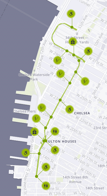 Map of the High Line in New York City