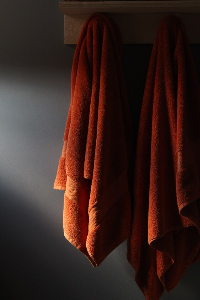 Bathroom towels welcoming the sun.