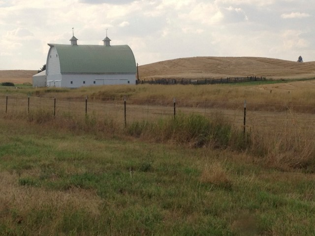 A lone green-roofed barn dots the landscape of the Palouse.
