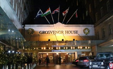 A grand entrance welcomed us to Grosvenor House, a JW Marriott Hotel in London.
