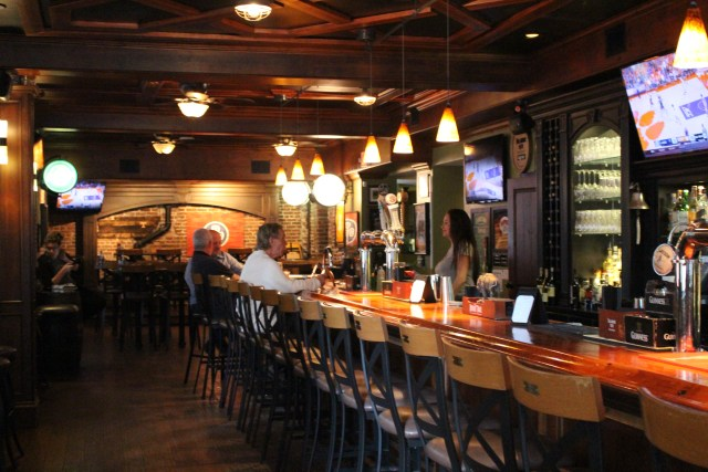 Look closely, and you'll see the handsome coffered ceiling and classy bar at Clancy's.