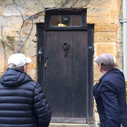 Bert and our driver from Stanton, Gloucestershire, admire one of the doors so typical of this lovely little town.