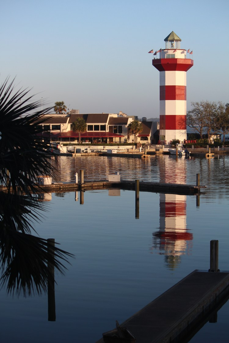 Harbor Town light reflected in uncluttered waters