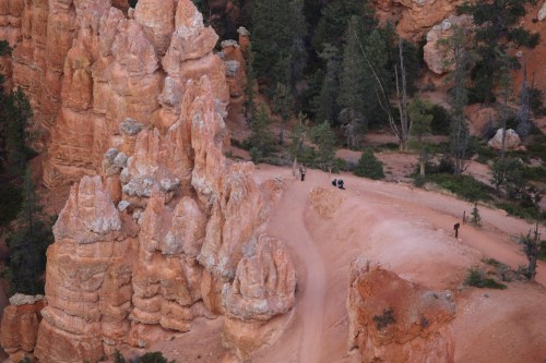 "Hikers prepare to head down the trail into the ""bowels"" of Bryce."