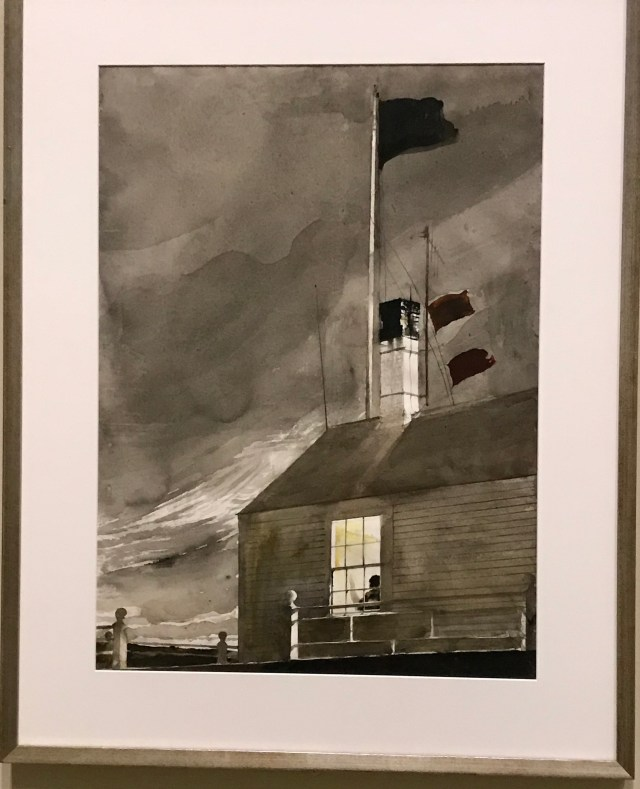 Wyeth's house on Southern Island, off the coast from Tenants Harbor, with signal flags flying.  Watercolor on paper.