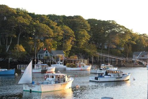 Boats at sundown: New Harbor, Maine