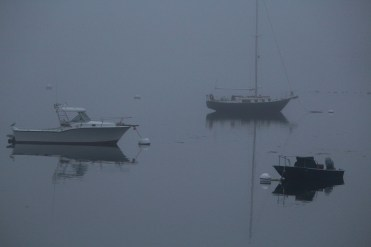 Three boats fogged in on Penobscot Bay at Castine harbor.