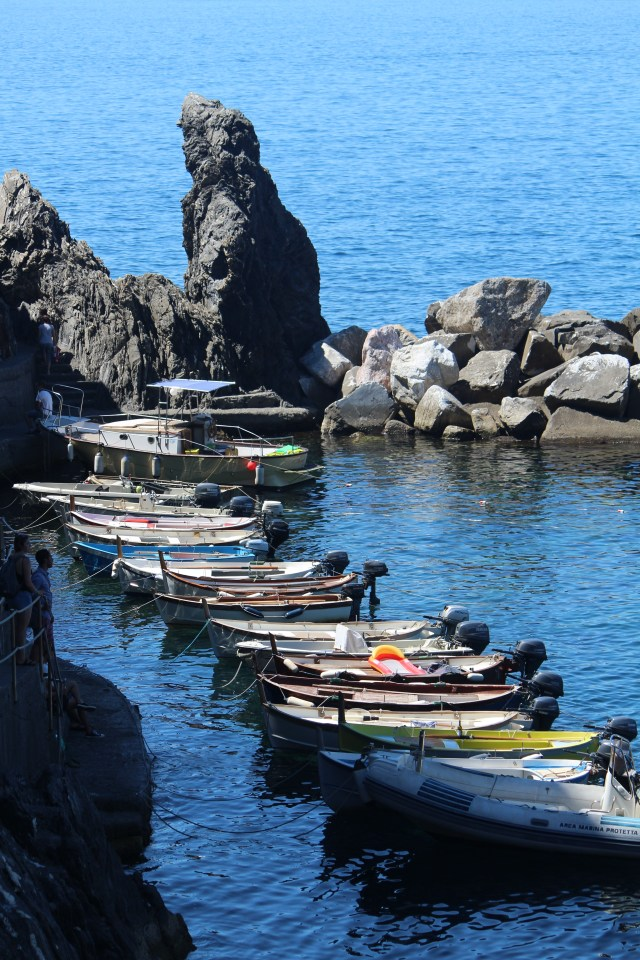 Boats lined up in Manarola