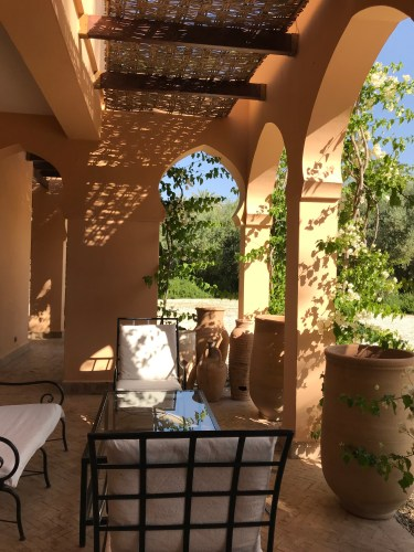 An outdoor gathering spot takes in the afternoon sun through the vine-covered archways.