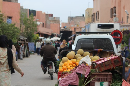 Trucking fresh food into the medina on a busy market day.