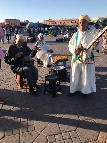 Moroccan musicians performing at Jemaa el-Fnaa