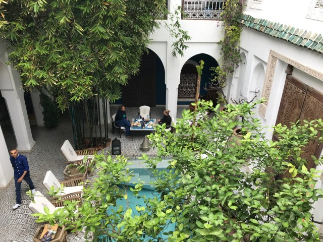 Looking down into the courtyard of Riad Les Yeux Bleus, Marrakech.