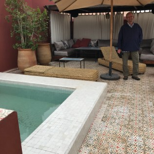 Pool area on the rooftop of Riad Les Yeux Bleus