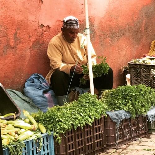 Outside the medina, a seller of herbs awaits customers.