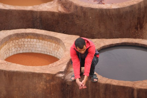 Perched on a dye pit: Fez tannery